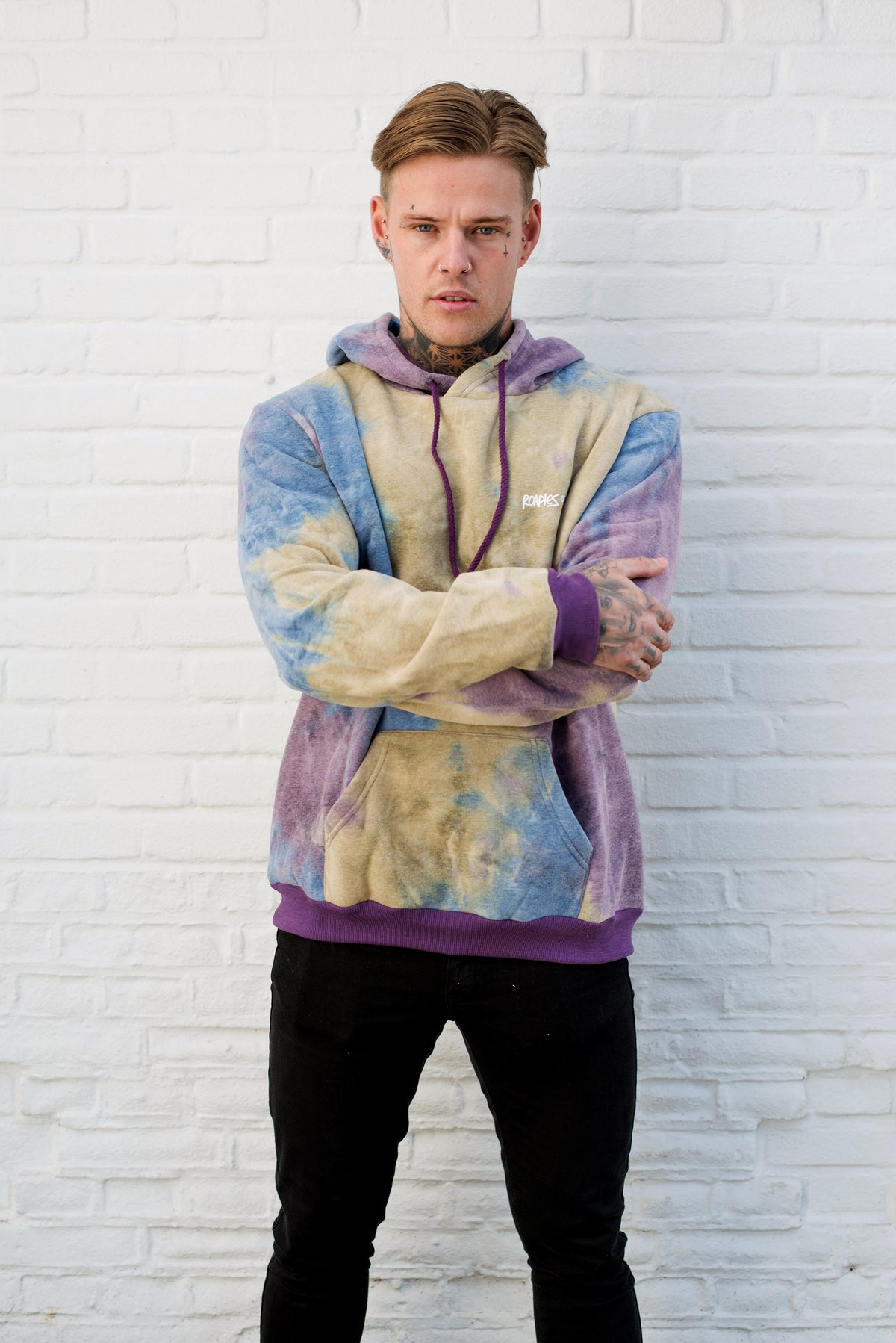 Roadies of 66 - Tye Dye Hoodie in Purple