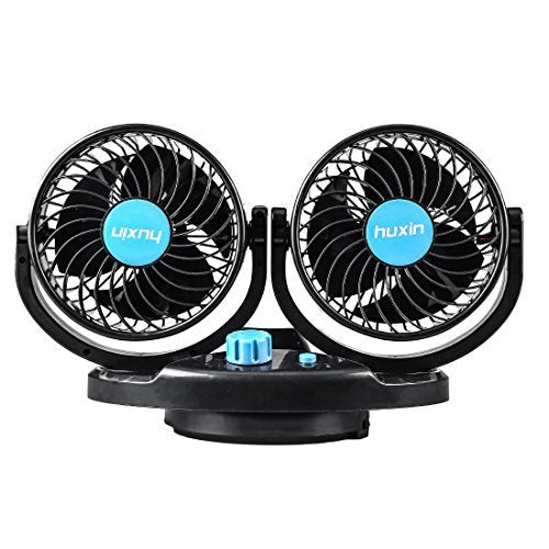12V DC Electric Car Fans - 5Inch 360°Auto Rotatable 2 Speed Dual Blade with  6FT Cord - Quiet Strong Dashboard Cooling Fan for Sedan SUV RV Boat Auto