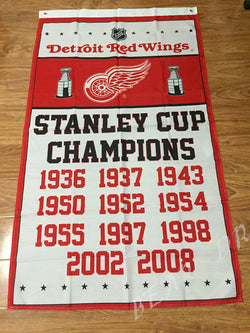 Detroit Red Wings Stanley Cup Champions Ship Flag