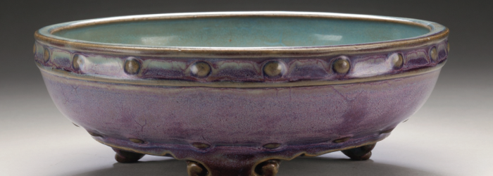 "Jun ware displayed at LACMA. Note ""worm track"" texture in purple, and contrast between interior and exterior glaze."