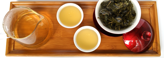 high quality leaves steeped in gong fu style with a glass server and two cups to deliver several infusions of intense flavor