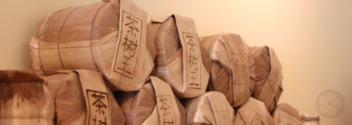 sheng puerh tea cakes are wrapped in bamboo leaves for storage