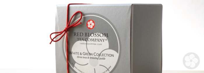 This boxed gift collection features three varied examples of green and white teas.