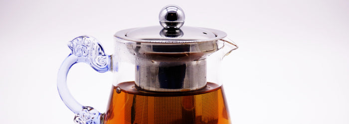 Metal infusers like this one (in a glass pot) are popular in large teapots made in Asia.
