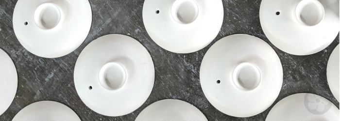 gaiwan lids made in white stoneware; though they look like porcelain, they are much thicker