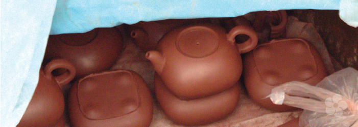 yixing clay formed into teapot bodies