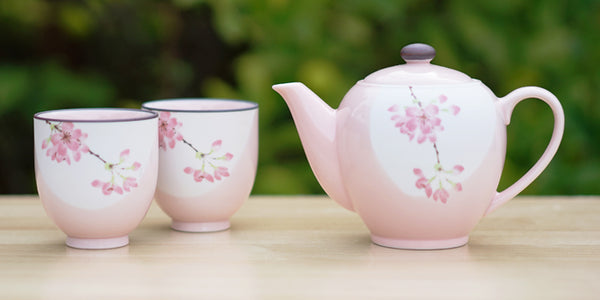 Pink Sakura Tea Set with 2 Cups