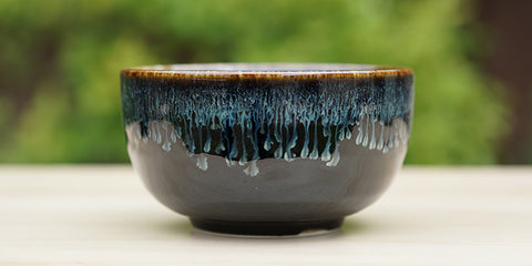 Black Amber Blue Tea Bowl