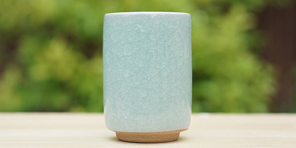 Side view: Celadon Crackle Yunomi Tea Cup