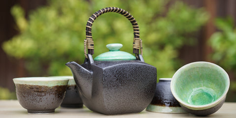 Bronze Jade Tea Set with 4 Cups