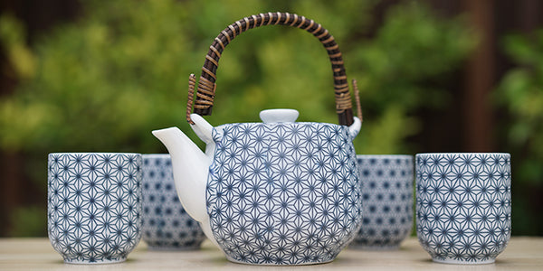 Indigo Matte Hemp Tea Set with 4 Cups