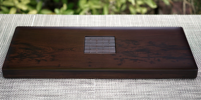 Front view: Antique Ebony Wood Tea Tray, Lattice