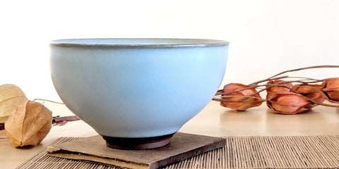 Side view: Blue Celadon Tea Bowl