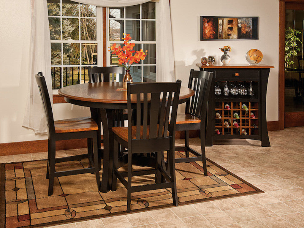 Arts & Crafts Dining Room Collection shown in 1/4 Sawn White Oak with a Onyx Base and Michaels top.