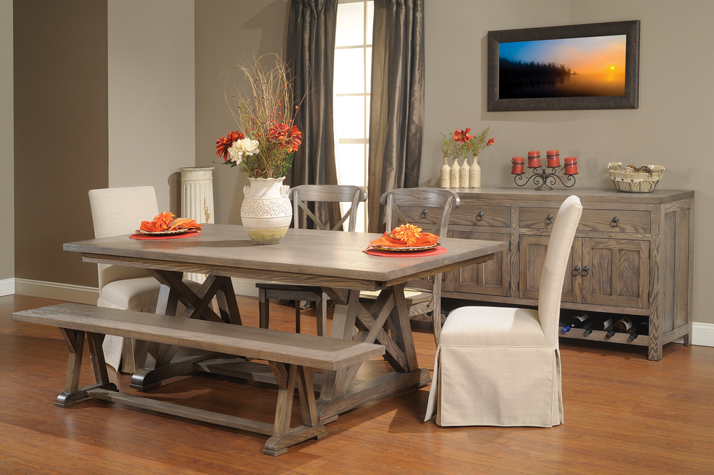 Arvada Dining Collection shown in Oak/Brushed Sandstorm - low sheen