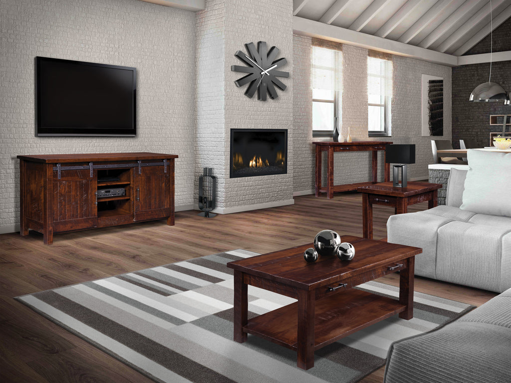 Shown in Rough Sawn Brown Maple with aged finish and natural distressed markings resembling reclaimed barn wood.