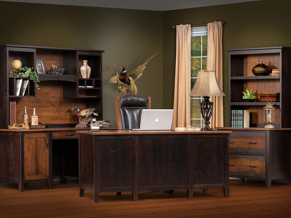 Manhattan office collection shown in Brown Maple with resawn drawer fronts
