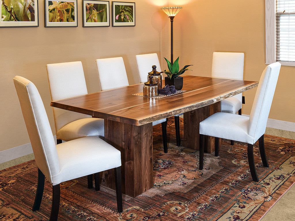 Rio Vista live edge dining collection shown in Rustic Walnut