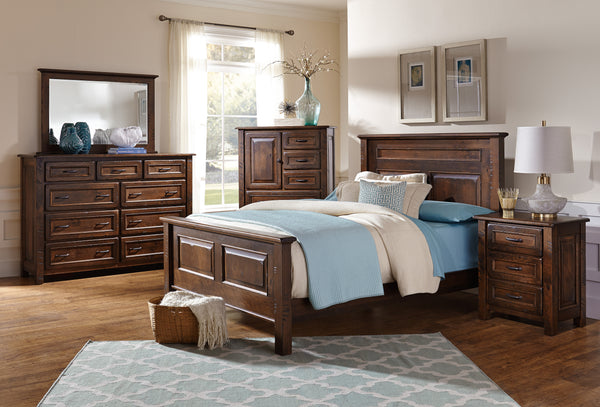 Belwright bedroom collection shown in Rustic Cherry/Coffee with sawcut distressing and low sheen finish