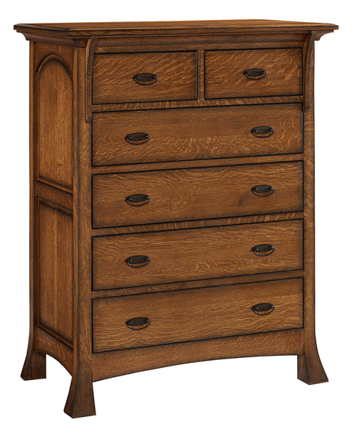 Breckenridge 6 drawer chest shown in 1/4 Sawn White Oak/Michaels with a burnish edge finish