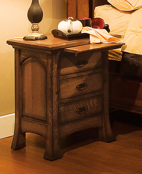 Breckenridge 3 drawer nightstand shown in 1/4 Sawn White Oak/Michaels with a burnish edge finish