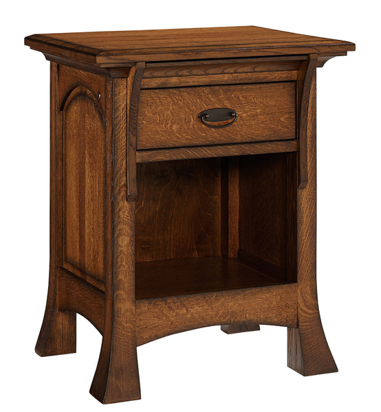 Breckenridge 1 drawer nightstand shown in 1/4 Sawn White Oak/Michaels with a burnish edge finish