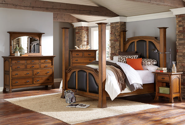 Breckenridge bedroom collection shown in 1/4 Sawn White Oak/Michaels burnished edges with Black leather panels