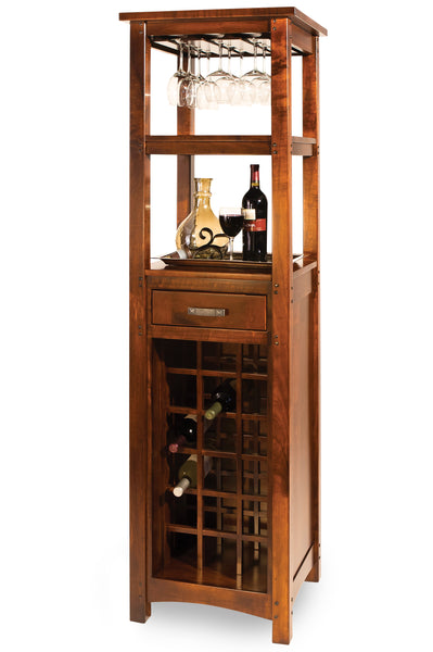The Brunswick Wine Tower is stylish and compact. Shown in Rustic Cherry with a New Carrington finish.