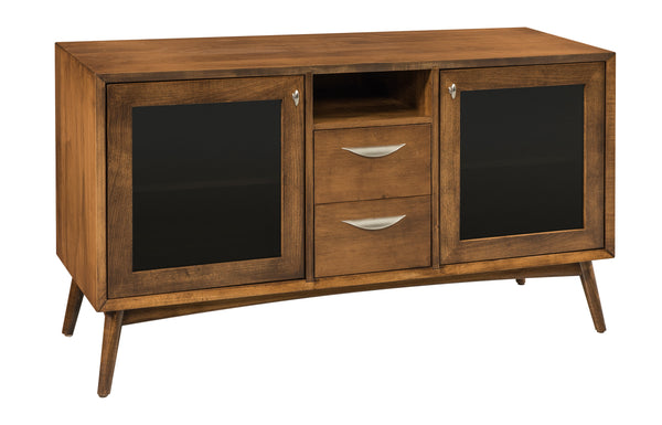 Century media stand shown in Brown Maple with a Chocolate Spice finish