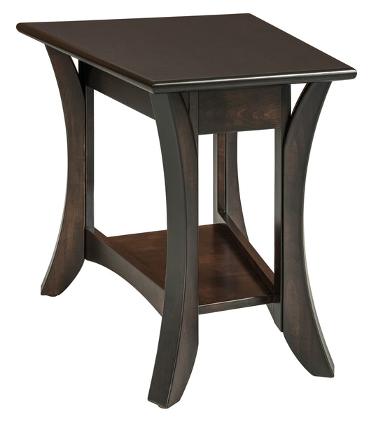Catalina wedge end table shown in Brown Maple/Onyx