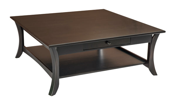 Catalina square coffee table shown in Brown Maple/Onyx