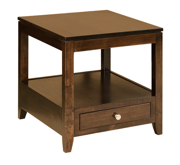 Camden end table shown in Brown Maple/Kona