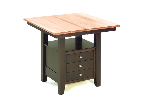 Camden cabinet table shown in Brown Maple/2-tone