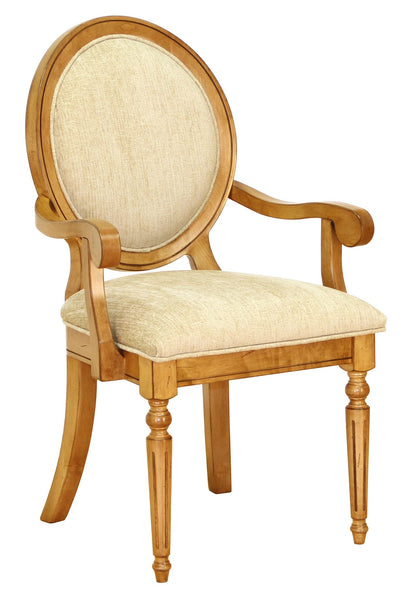 Chateau arm chair shown in Brown Maple/Sealy with distressing and a C2-31 Breeze fabric