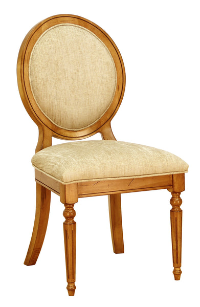 Chateau side chair shown in Brown Maple/Sealy with distressing and a C2-31 Breeze fabric
