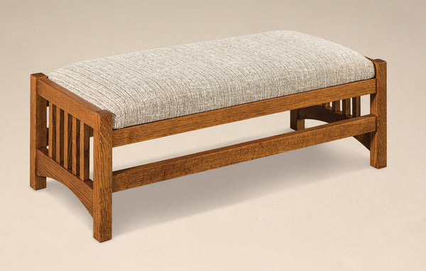 Cubic Slat Footstool shown in 1/4 Sawn White Oak with a Michaels Cherry finish