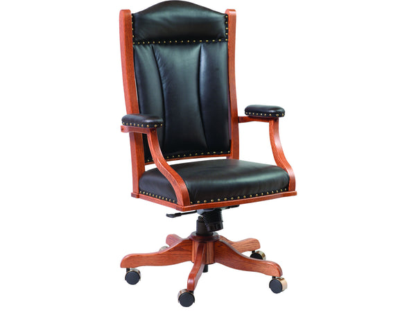 Amish made desk chair shown in Cherry with Black Leather (DC55)