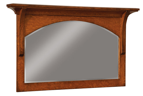 Breckenridge small mirror shown in 1/4 Sawn White Oak/Michaels with a burnish edge finish