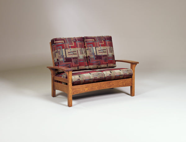 Durango love seat shown in 1/4 sawn white oak with a copper finish