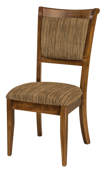 Side chair shown in Brown Maple with a Nutmeg stain.  Fabric 7-47 F