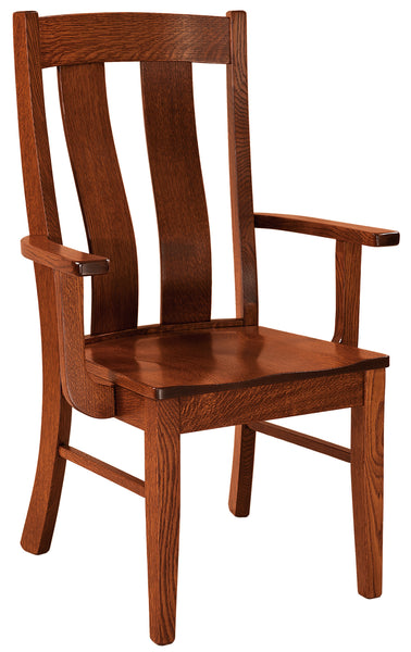 Laurie arm chair shown in 1/4 sawn white oak with a Michaels Cherry finish