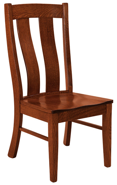 Laurie side chair shown  in 1/4 sawn white oak with a Michaels Cherry finish