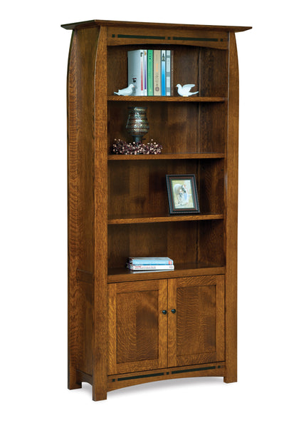 Boulder Creek Bookcase with doors shown in Quarter Sawn White Oak