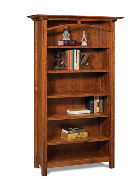 Artesa open bookcase shown in Cherry with an Asbury finish