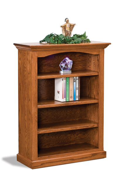 Oak bookcase shown with three adjustable shelves