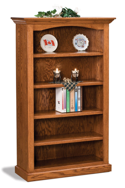 Oak bookcase shown with four adjustable shelves