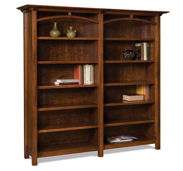 Artesa Double bookcase shown in cherry with an Asbury finish