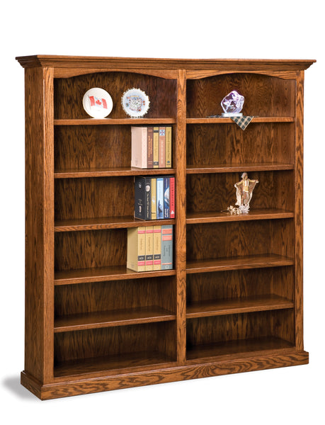 double wide bookcase shown with five adjustable shelves on each side