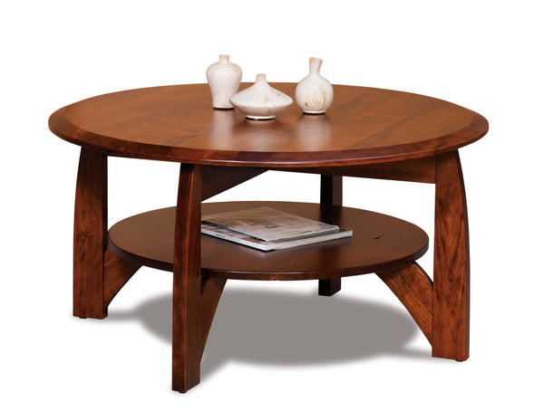 Boulder Creek round coffee table shown in Rustic Cherry/New Carrington