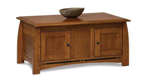 Boulder Creek enclosed coffee table shown in 1/4 Sawn White Oak/Michaels